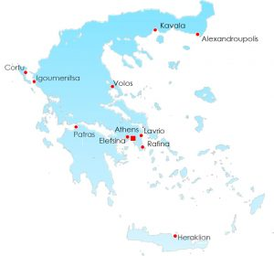 map of Greece with 10 ports